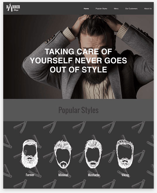 Barber Shop Instantsite Theme