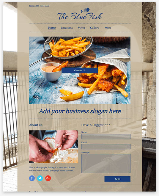 Blue Fish Instantsite Theme