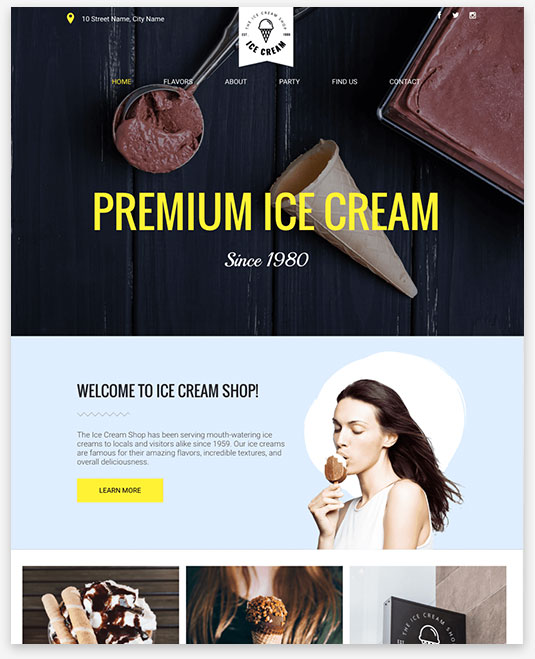Ice Cream Instantsite Theme