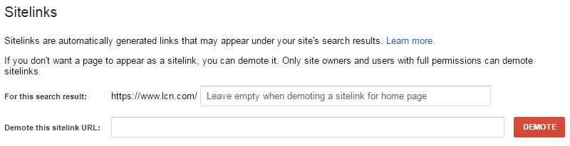 Search Console sitelinks